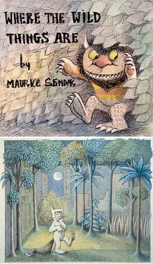 Top: Preliminary drawing of dust jacket for Where the Wild Things Are. © Maurice Sendak, 1963. All rights reserved.  Bottom: Final drawing for WWTA © Maurice Sendak, 1963. All rights reserved.