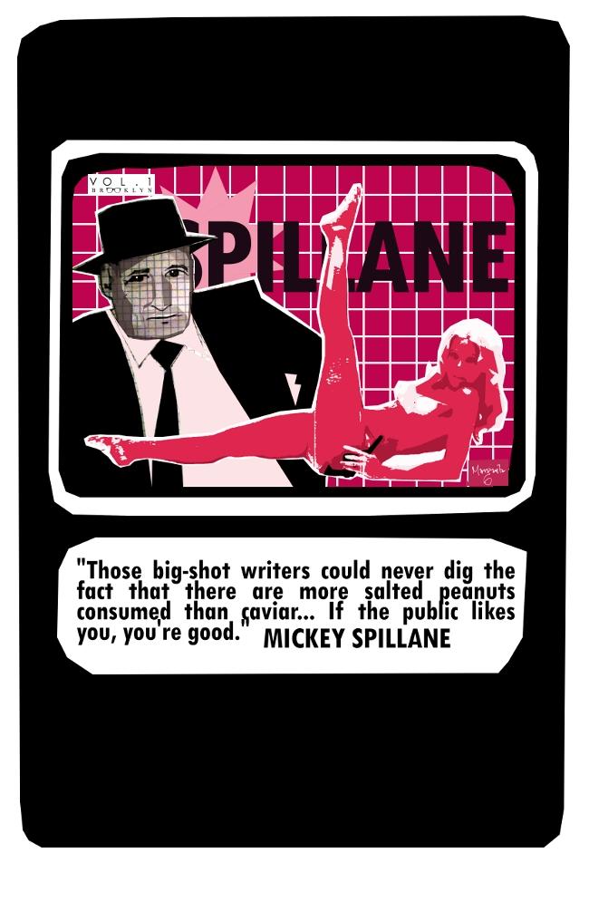 Mickey Spillane, noir, literary trading card